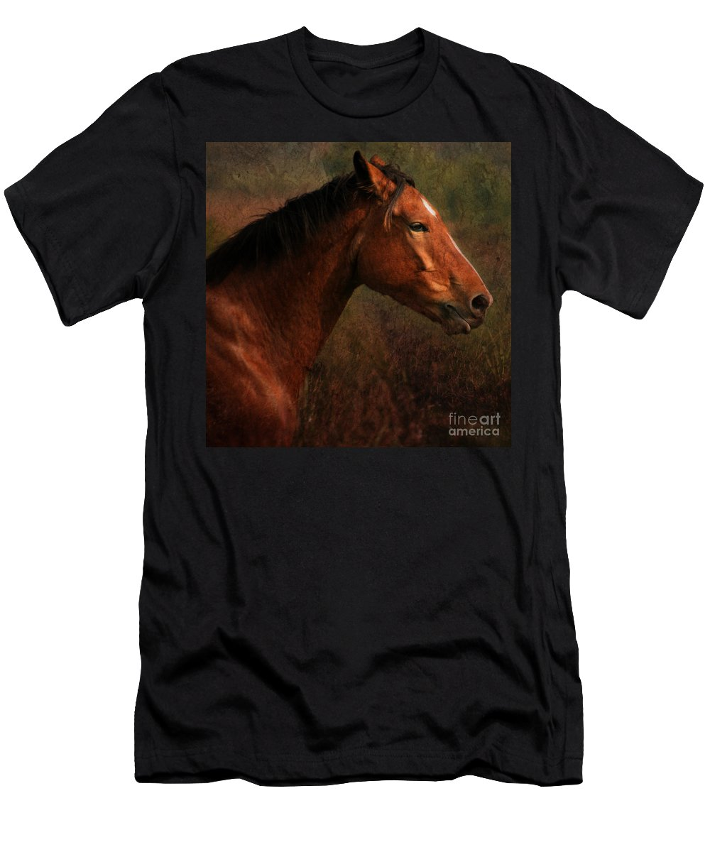 Horse Men's T-Shirt (Athletic Fit) featuring the photograph Horse Portrait by Angel Ciesniarska
