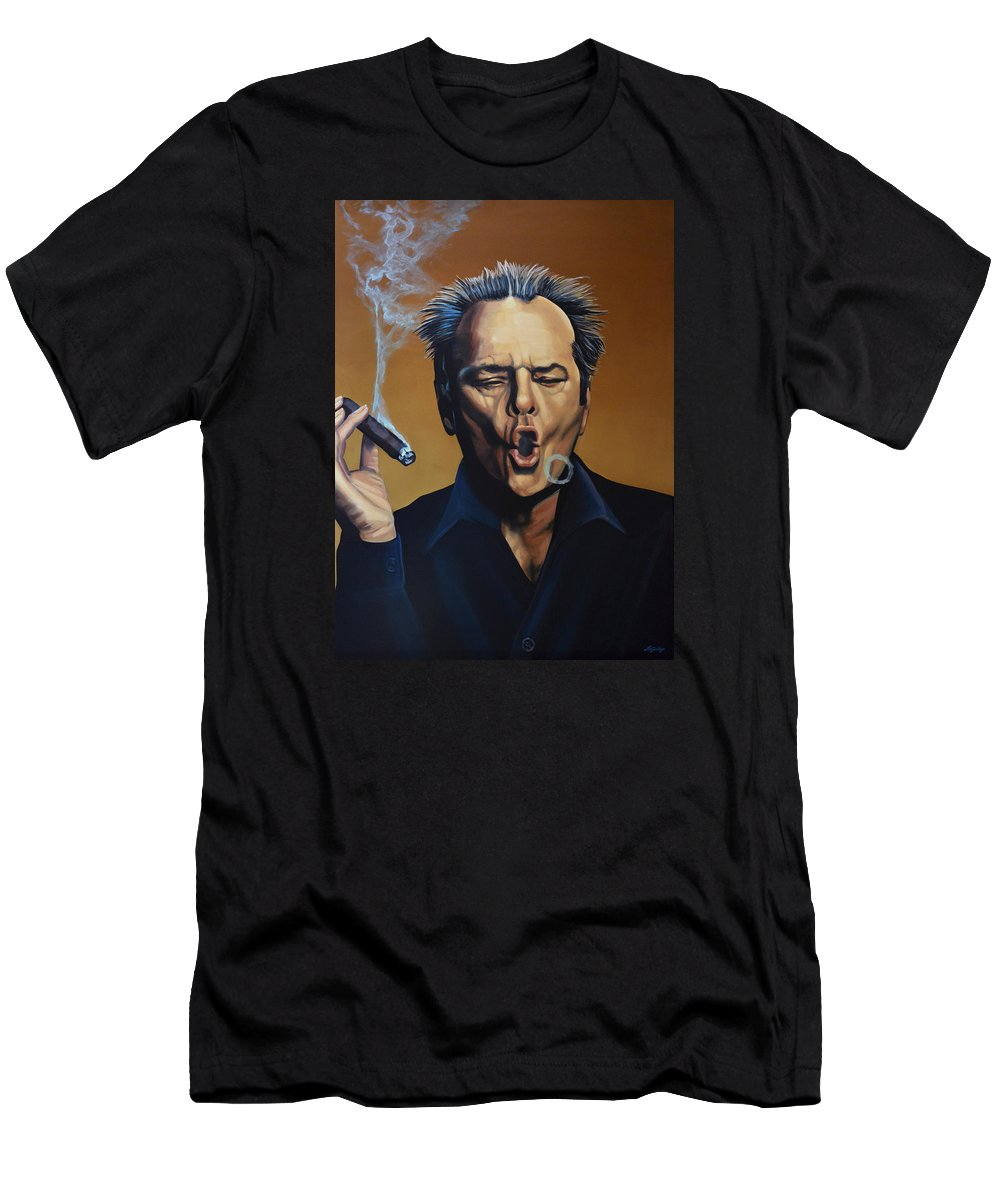 Jack Nicholson Men's T-Shirt (Athletic Fit) featuring the painting Jack Nicholson Painting by Paul Meijering