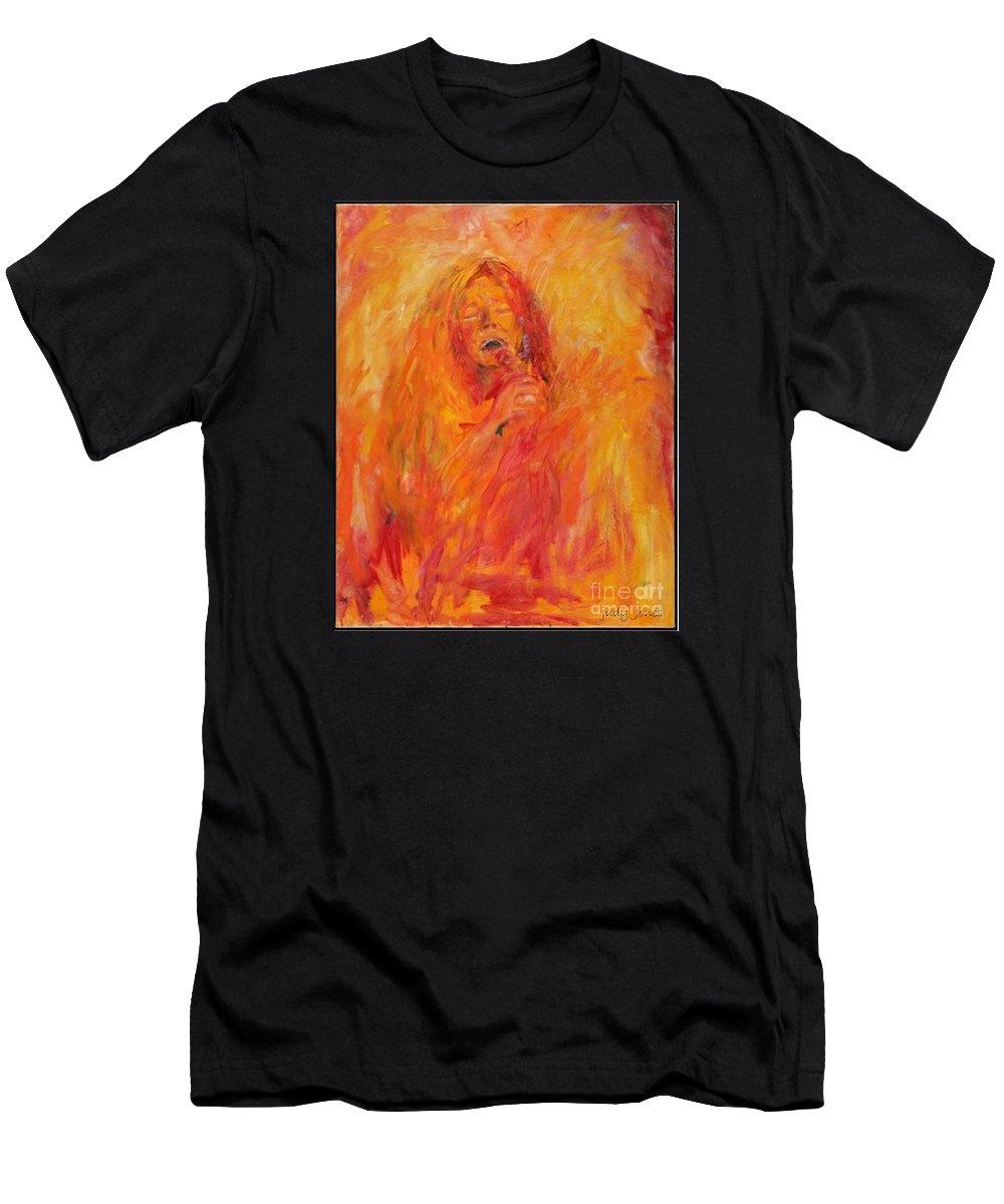 Janis Joplin Men's T-Shirt (Athletic Fit) featuring the painting Janis Joplin On Fire by Judy Joy Jones