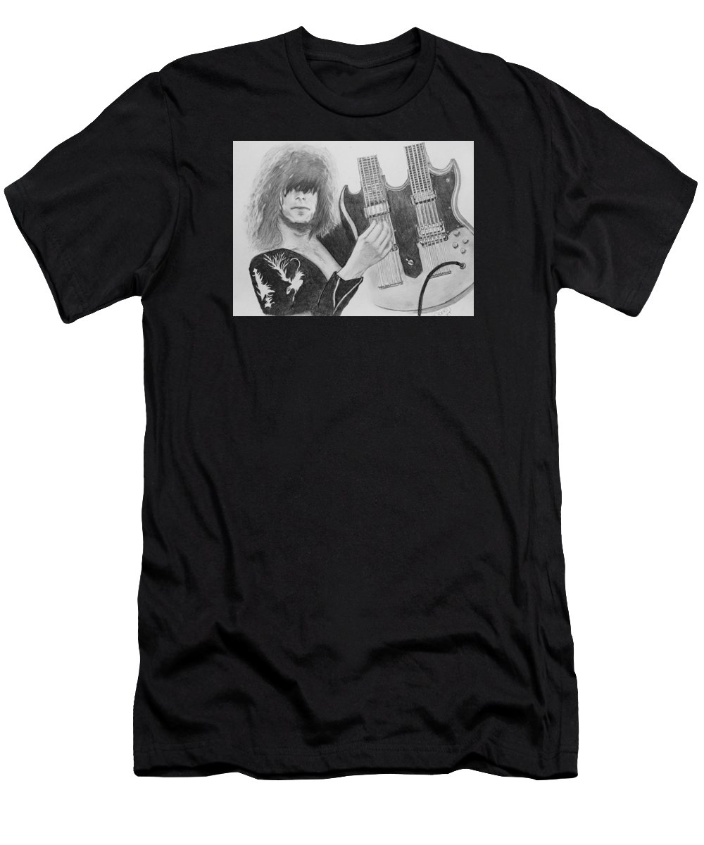 Jimmy Page Men's T-Shirt (Athletic Fit) featuring the drawing Jimmy Page by Manon Zemanek