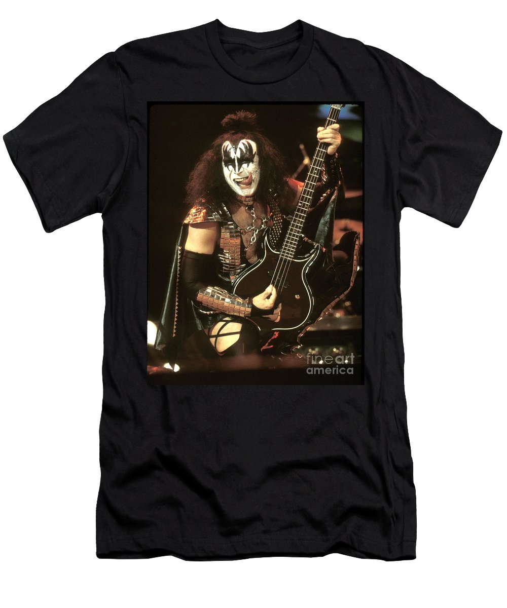 Hard Rock T-Shirt featuring the photograph Kiss - Gene Simmons by Concert Photos