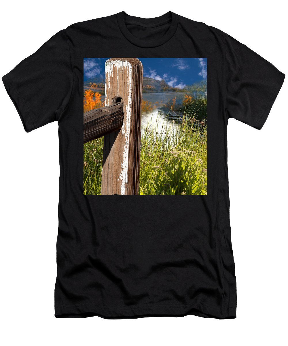 Agriculture Men's T-Shirt (Athletic Fit) featuring the photograph Landscape With Fence Pole by Gunter Nezhoda