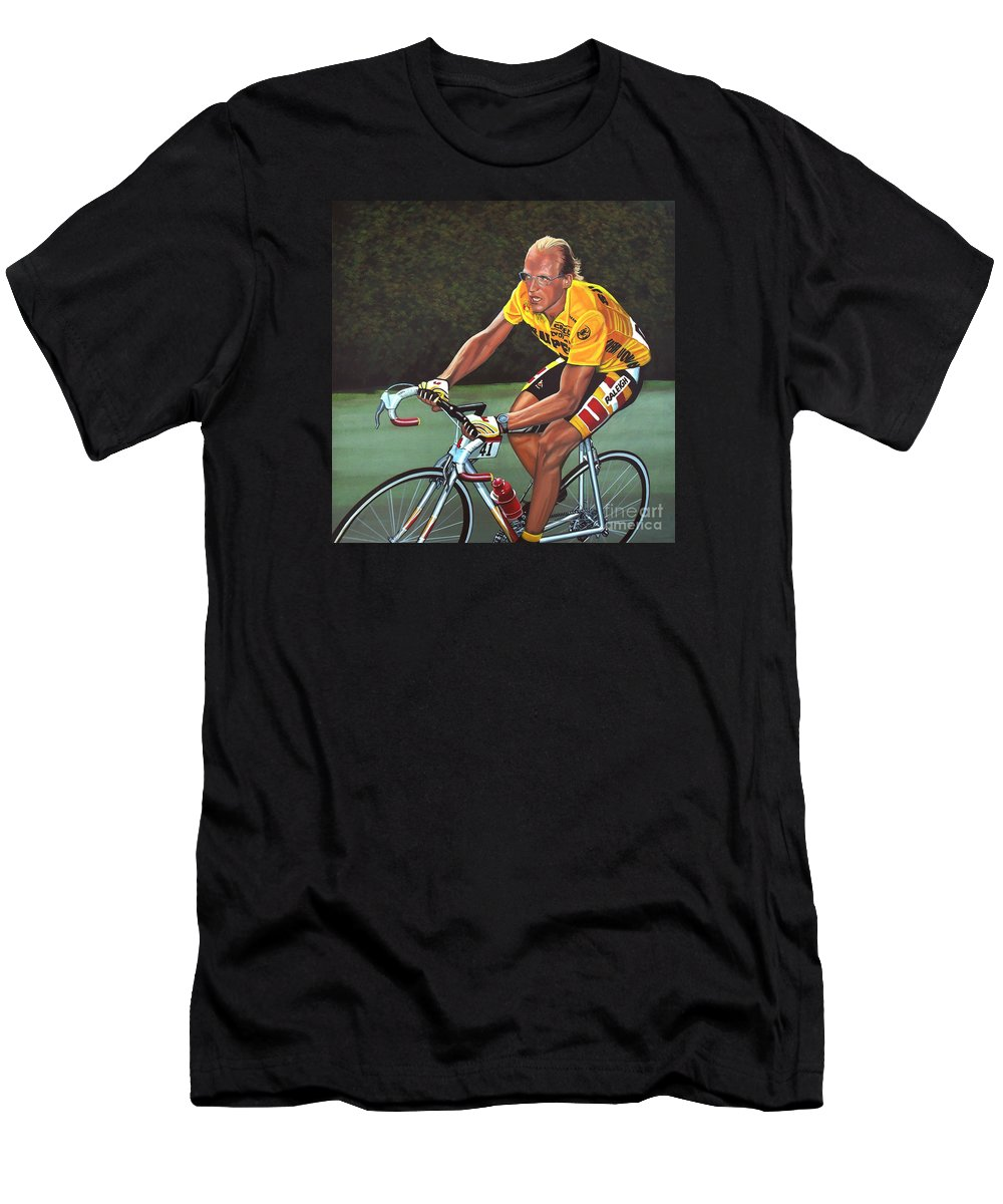 Laurent Fignon Men's T-Shirt (Athletic Fit) featuring the painting Laurent Fignon by Paul Meijering