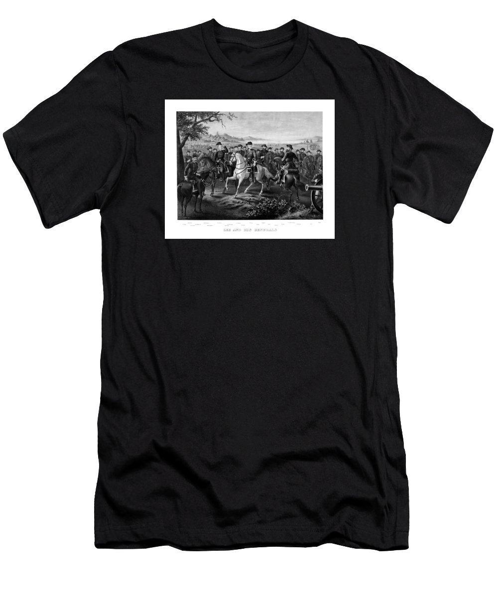 Robert E Lee Men's T-Shirt (Athletic Fit) featuring the painting Lee And His Generals by War Is Hell Store