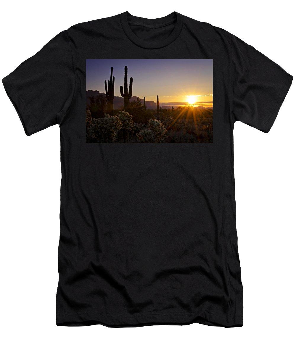 Sunrise Men's T-Shirt (Athletic Fit) featuring the photograph Let It Shine by Saija Lehtonen