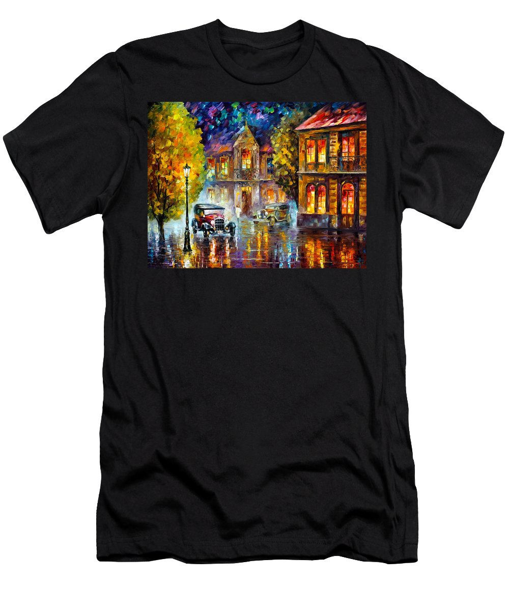 Afremov Men's T-Shirt (Athletic Fit) featuring the painting Los Angeles 1930 by Leonid Afremov
