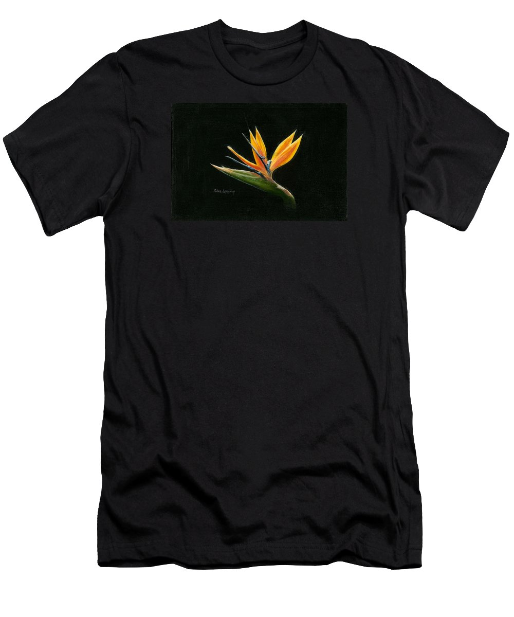 Bird Of Paradise Men's T-Shirt (Athletic Fit) featuring the painting Midnight Paradise by Sherryl Lapping
