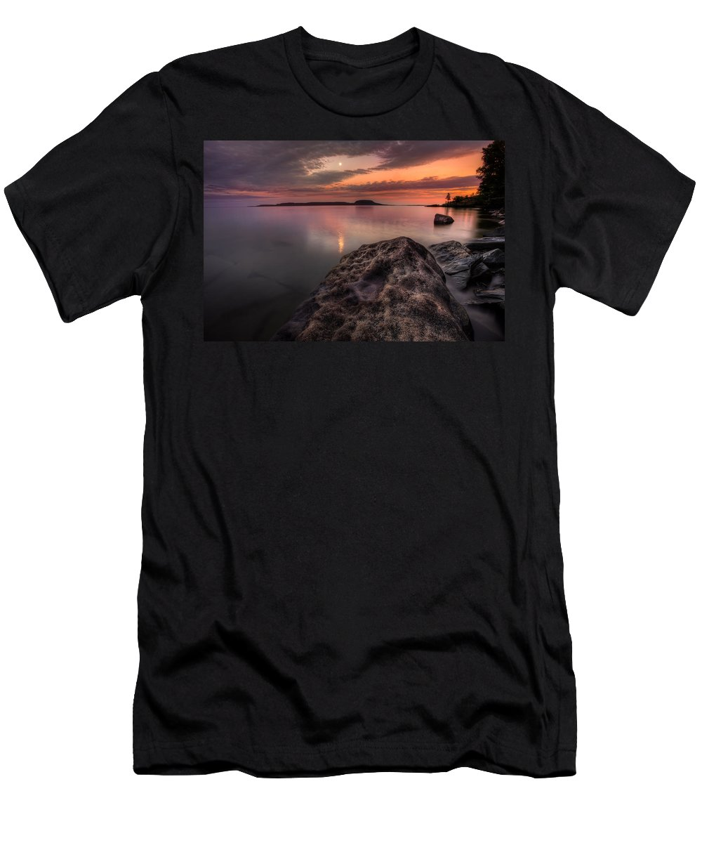 Aboriginal Men's T-Shirt (Athletic Fit) featuring the photograph 2 Mile Point Sunset And Moonrise by Jakub Sisak