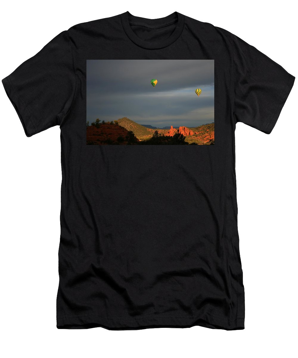 Arizona Men's T-Shirt (Athletic Fit) featuring the photograph Red Rock Liftoff by Miles Stites