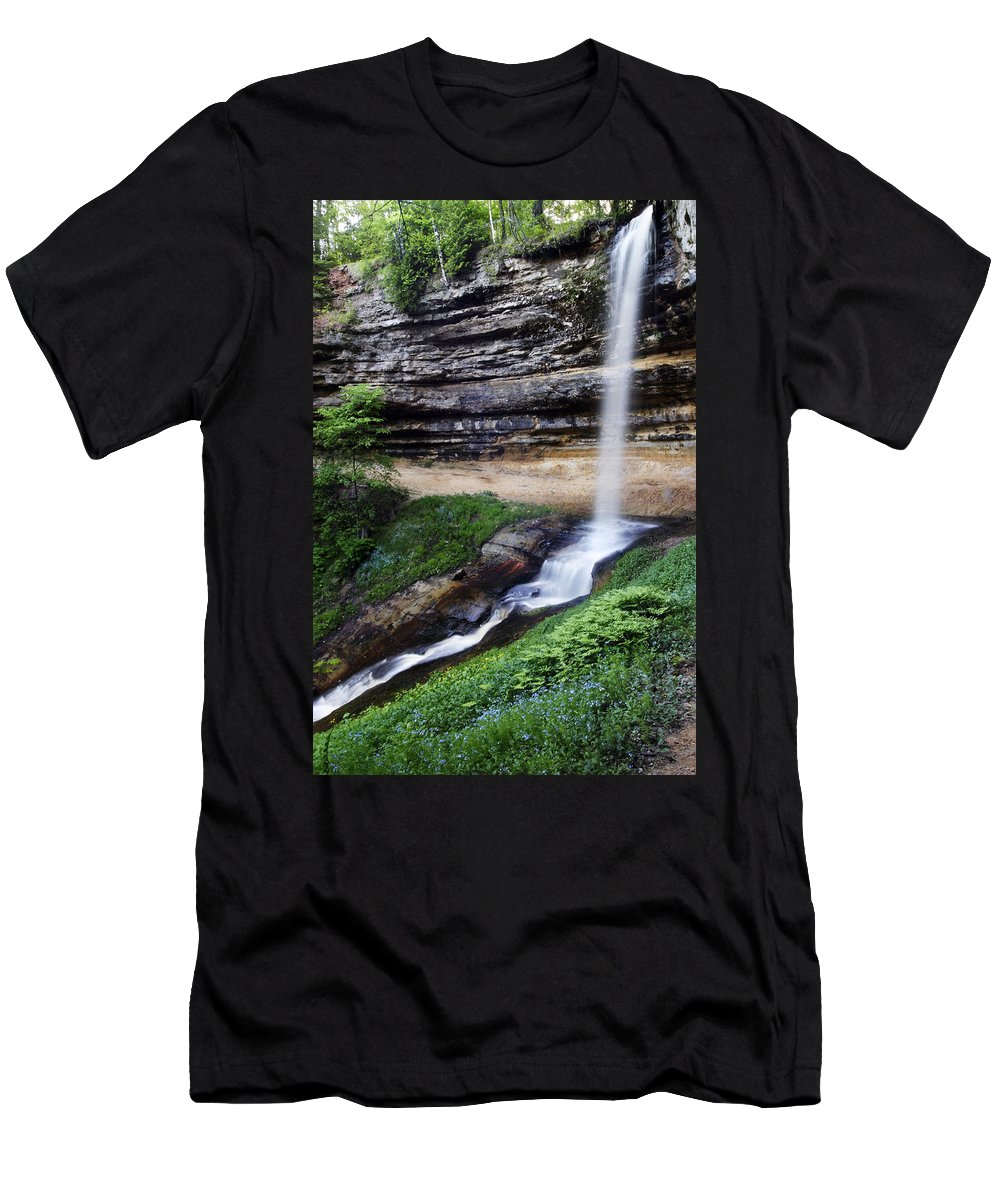 3scape Photos Men's T-Shirt (Athletic Fit) featuring the photograph Munising Falls by Adam Romanowicz