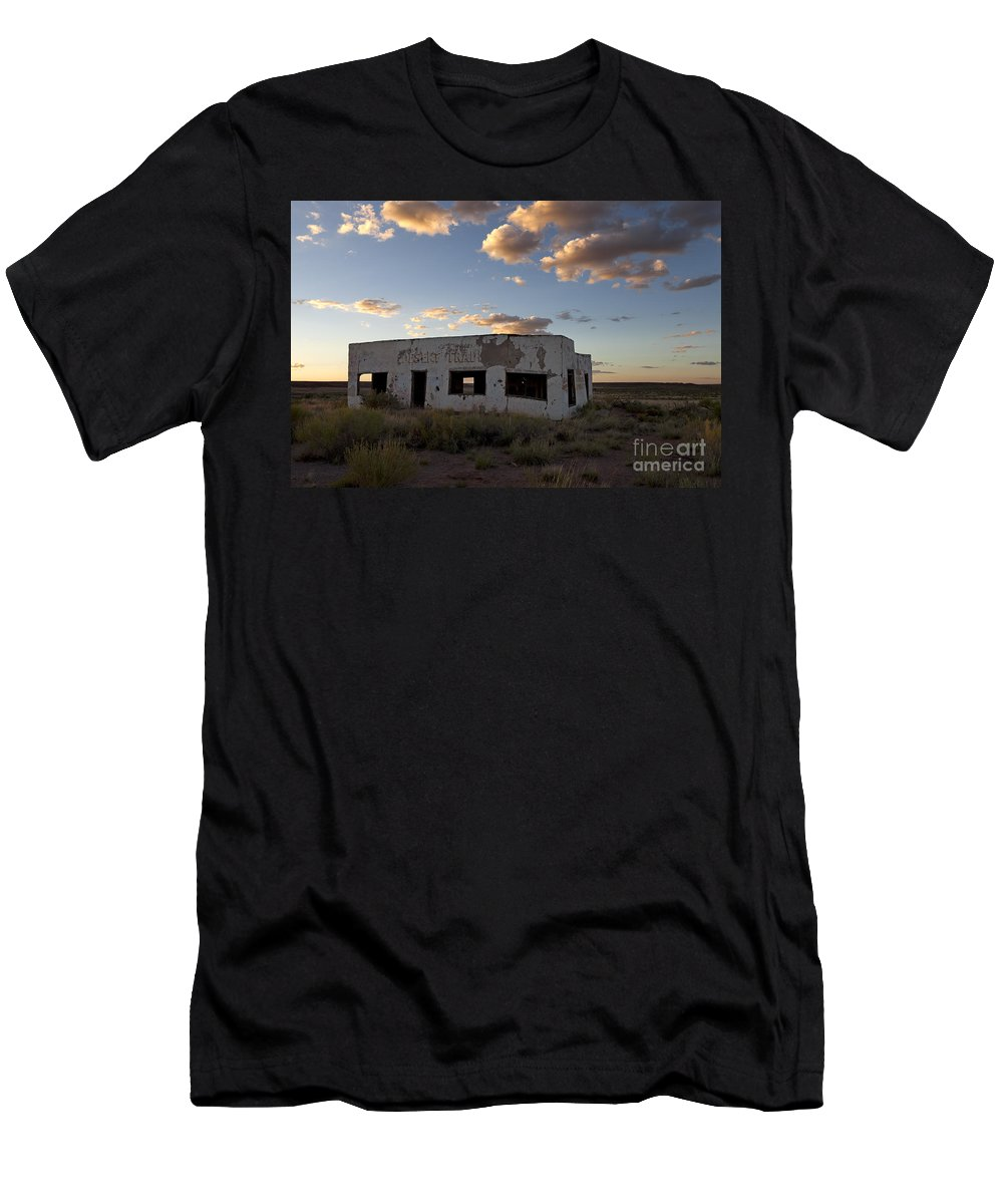 Route 66 Men's T-Shirt (Athletic Fit) featuring the photograph Painted Desert Trading Post At Sunset by Rick Pisio
