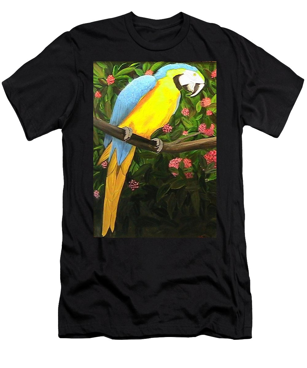 Birds Wildlife. Parrots Men's T-Shirt (Athletic Fit) featuring the painting Parrot by Catherine Swerediuk