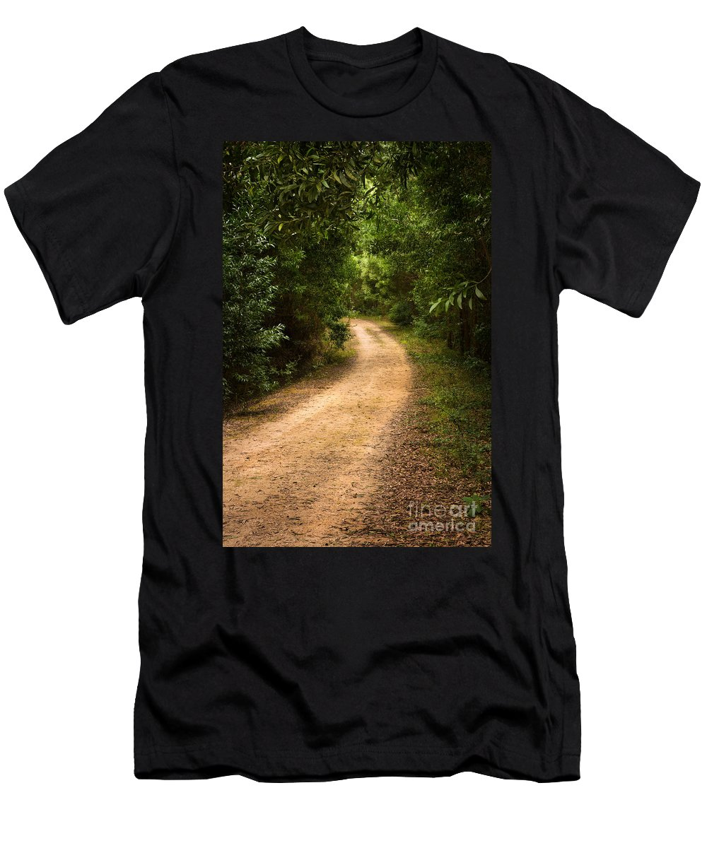 Autumn Men's T-Shirt (Athletic Fit) featuring the photograph Pathway In The Woods by Carlos Caetano