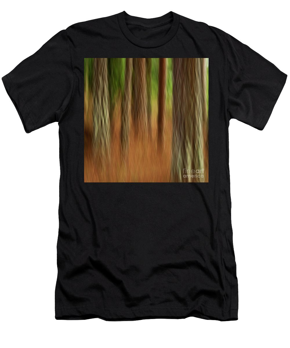 Abstract Men's T-Shirt (Athletic Fit) featuring the photograph Pine Trees by Heiko Koehrer-Wagner