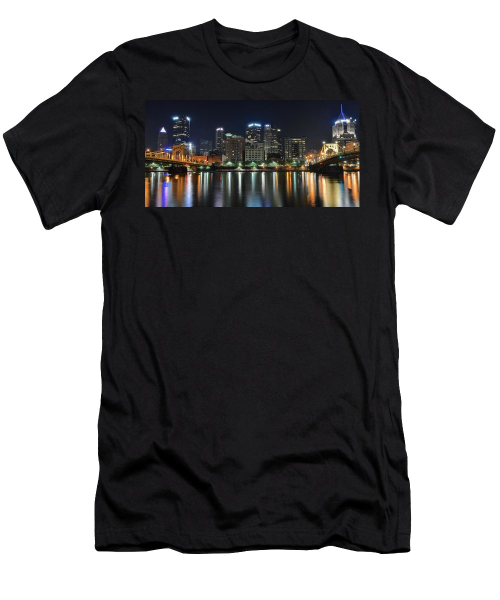 Pittsburgh Men's T-Shirt (Athletic Fit) featuring the photograph Pittsburgh Panorama by Frozen in Time Fine Art Photography