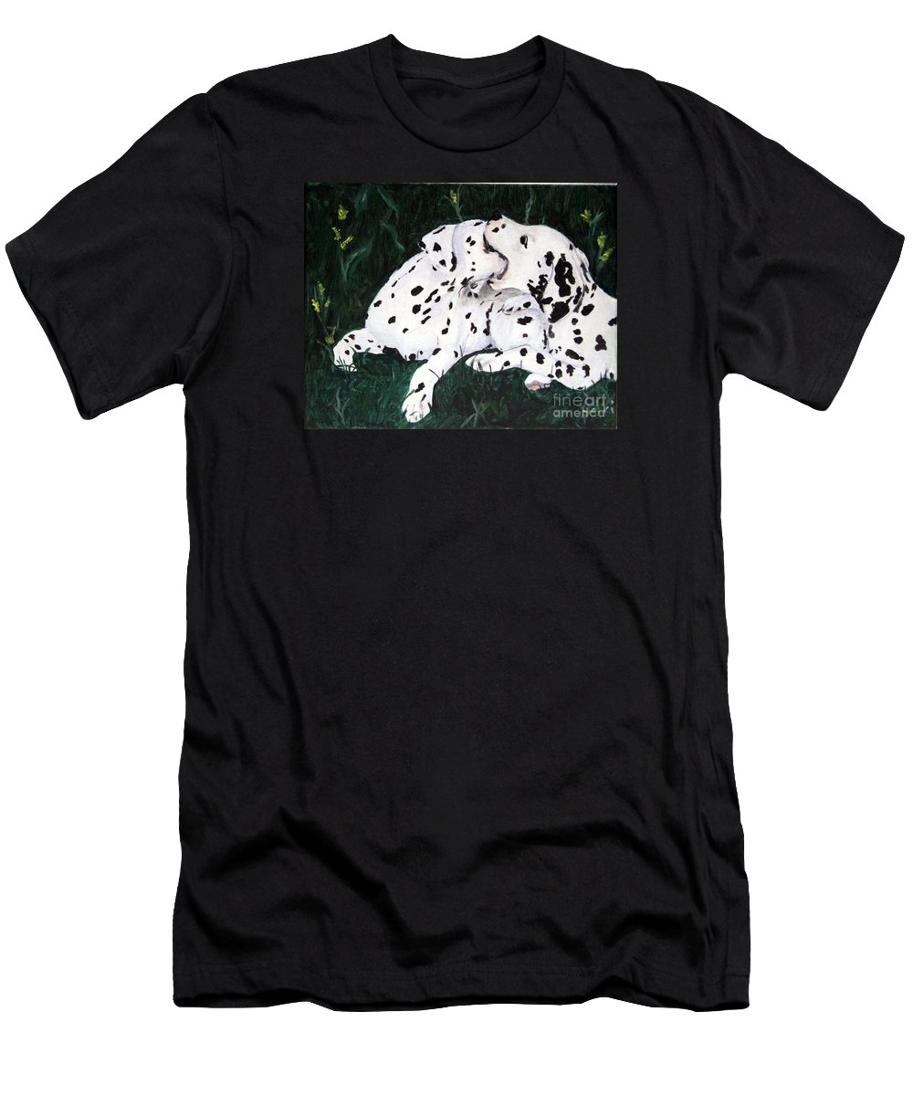 Dogs Men's T-Shirt (Athletic Fit) featuring the painting Playful Pups by Jacki McGovern