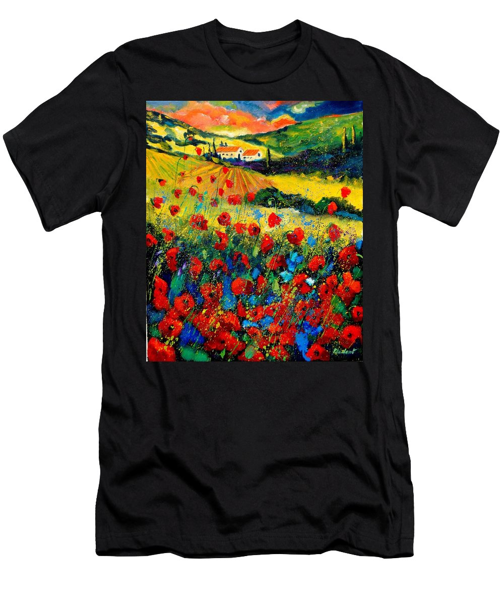 Flowersn Landscape T-Shirt featuring the painting Poppies in Tuscany by Pol Ledent