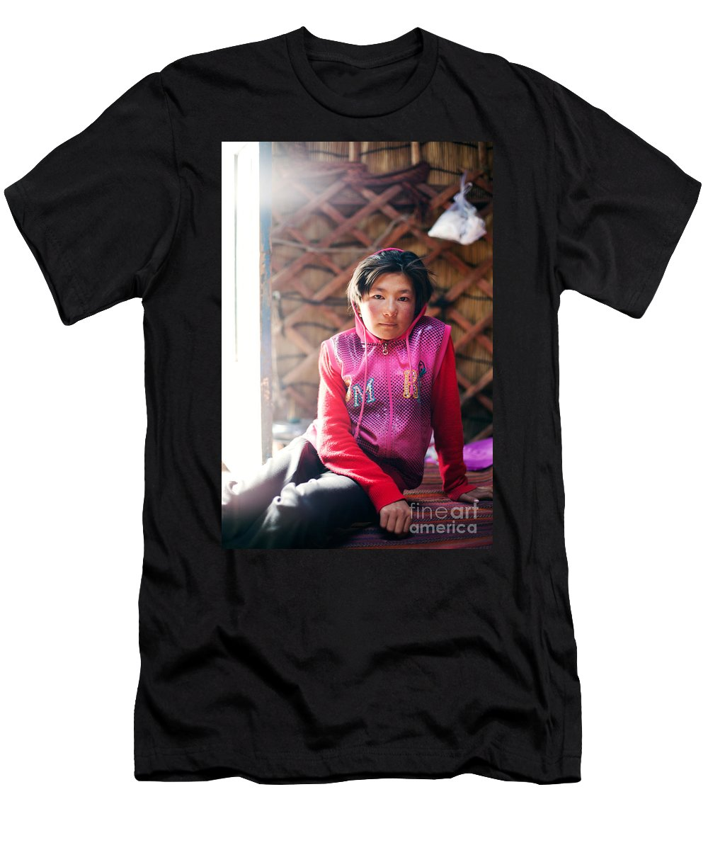 10-12 Men's T-Shirt (Athletic Fit) featuring the photograph Portrait Of Young Kyrgyz Girl Inside A Yurt China by Matteo Colombo