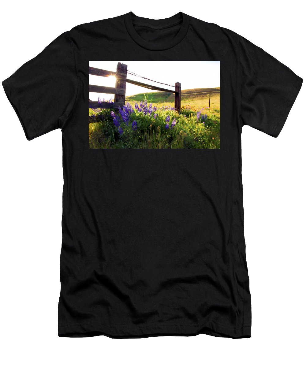 Wild Flowers Men's T-Shirt (Athletic Fit) featuring the photograph Purple Wildflowers by Athena Mckinzie