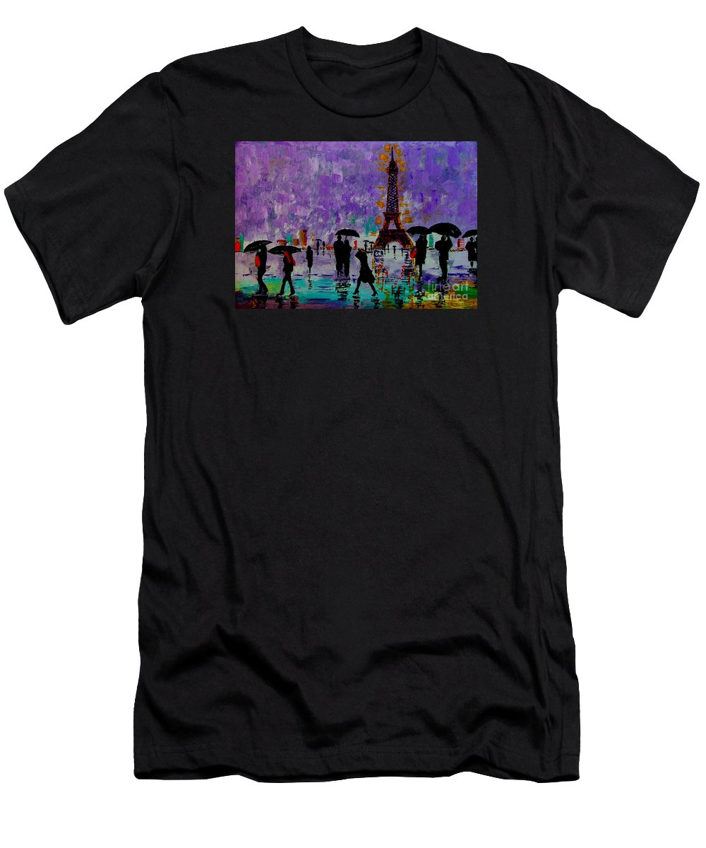 Rain Men's T-Shirt (Athletic Fit) featuring the painting Rain In Paris by Inna Montano