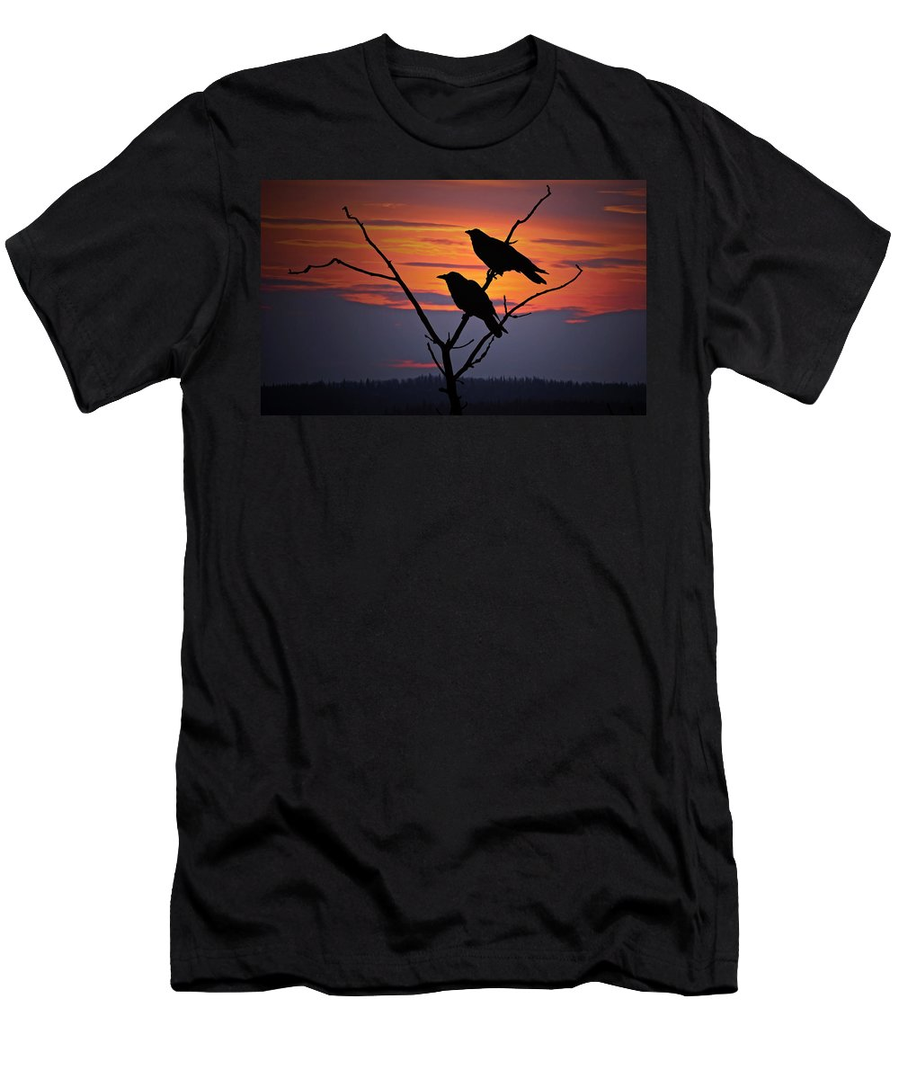 Raven Men's T-Shirt (Athletic Fit) featuring the photograph 2 Ravens by Ron Day