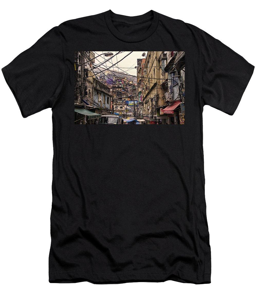 Favela Men's T-Shirt (Athletic Fit) featuring the photograph Rio De Janeiro Brazil - Favela by Jon Berghoff