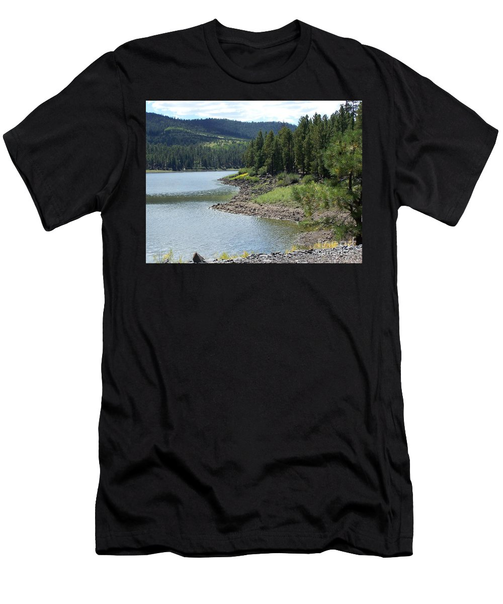 Greer Men's T-Shirt (Athletic Fit) featuring the photograph River Reservoir by Pamela Walrath
