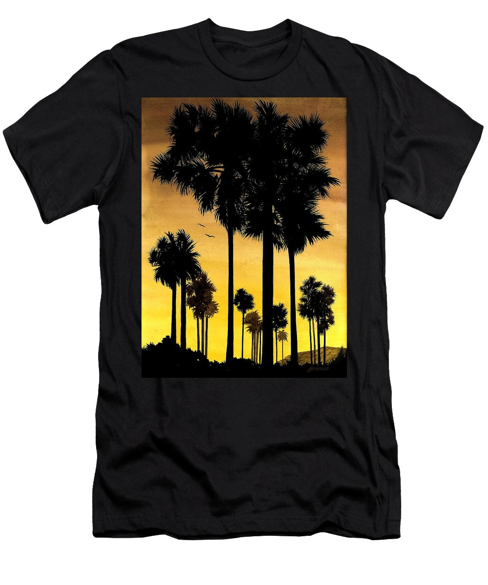 San Diego Sunset Men's T-Shirt (Athletic Fit) featuring the painting San Diego Sunset by Larry Lehman