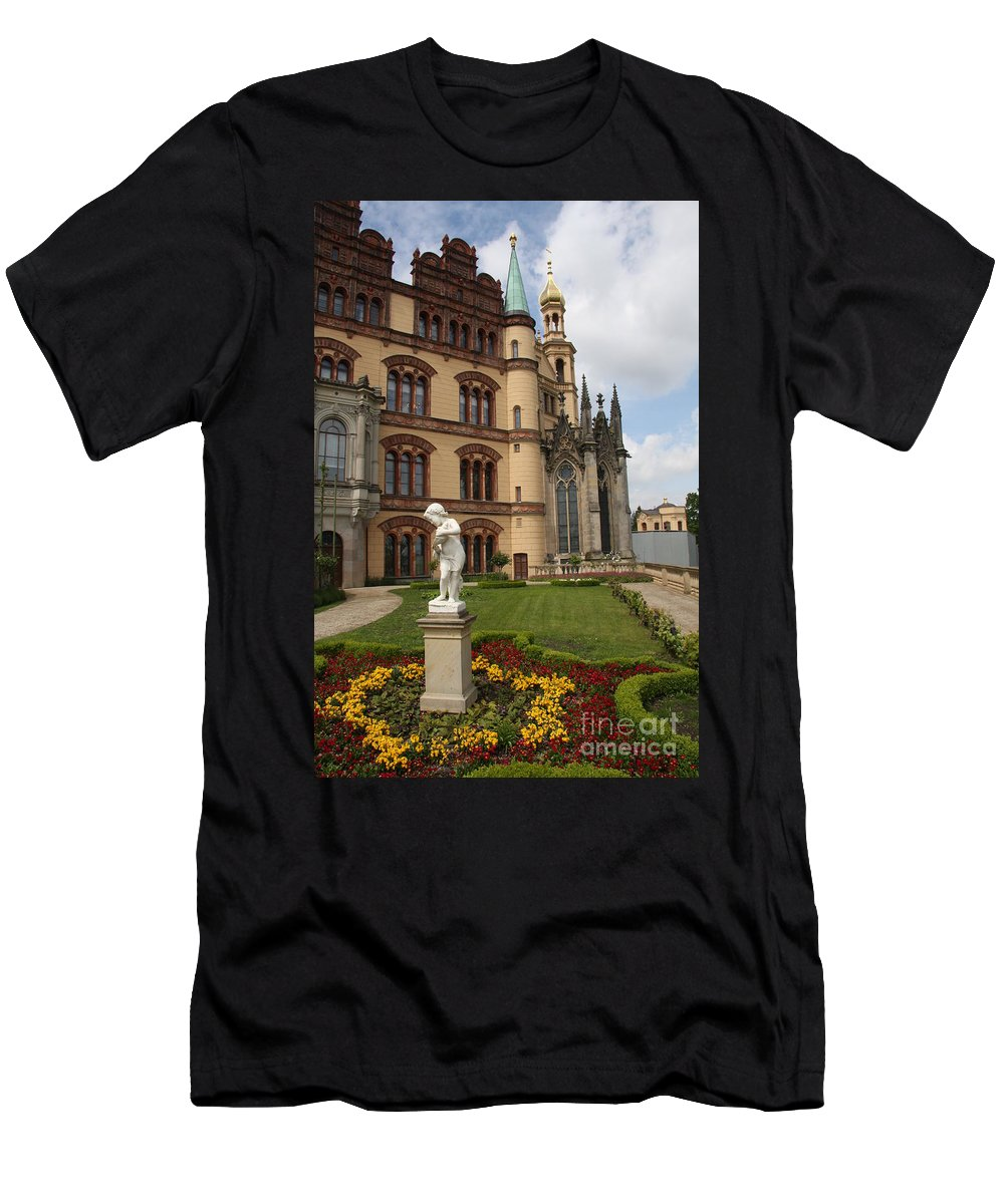 Schwerin Men's T-Shirt (Athletic Fit) featuring the photograph Schwerin - Palace - Germany by Christiane Schulze Art And Photography