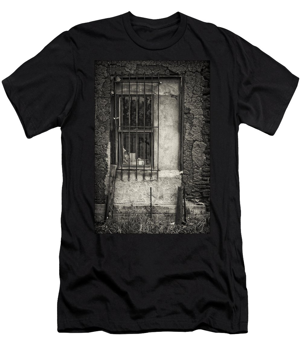 Window Men's T-Shirt (Athletic Fit) featuring the photograph Secured by Priscilla Burgers