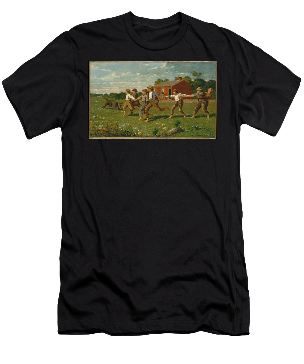 Winslow Homer Men's T-Shirt (Athletic Fit) featuring the painting Snap The Whip by Winslow Homer
