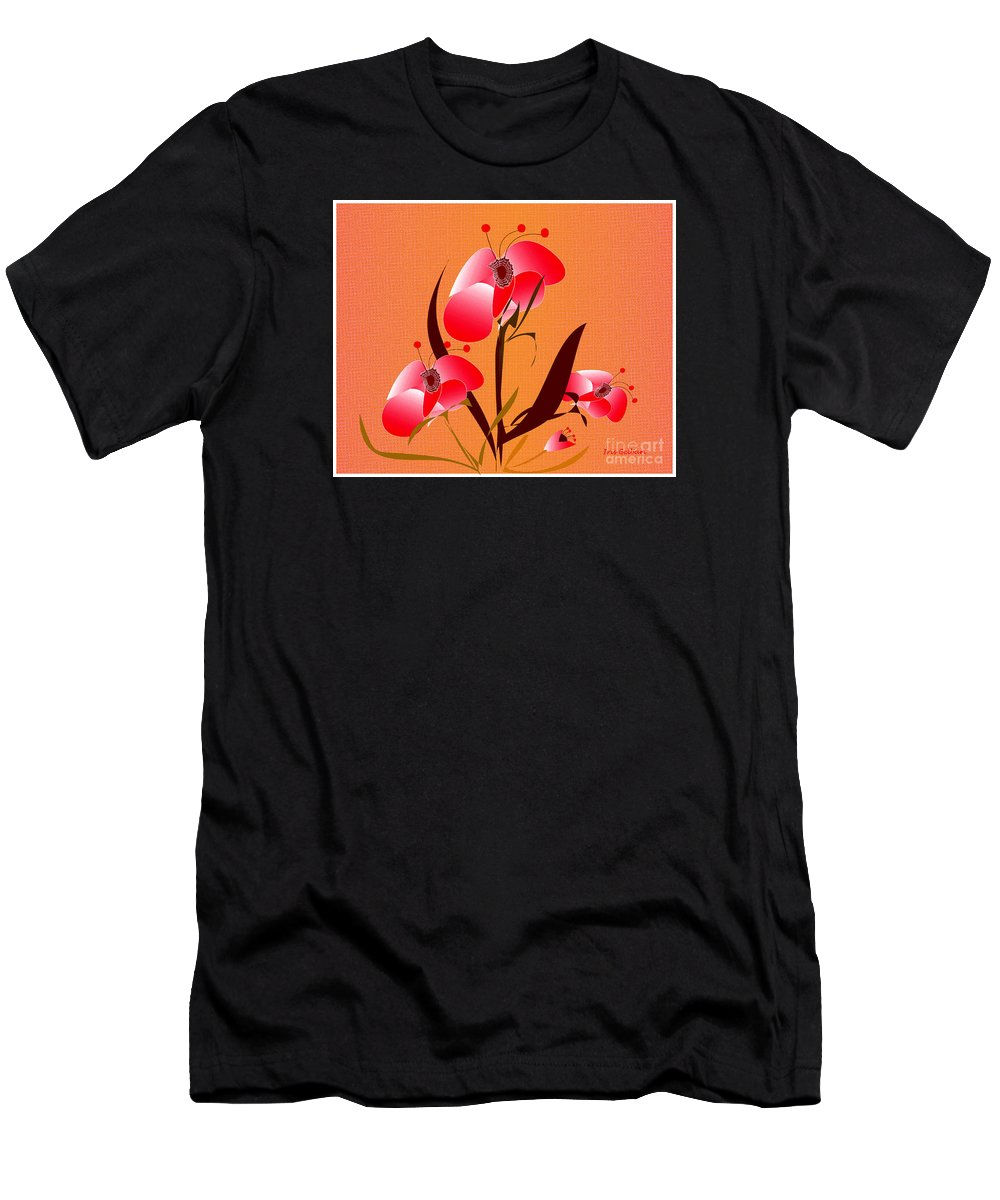 Abstract Flowers Men's T-Shirt (Athletic Fit) featuring the digital art Spirit Of Love by Iris Gelbart
