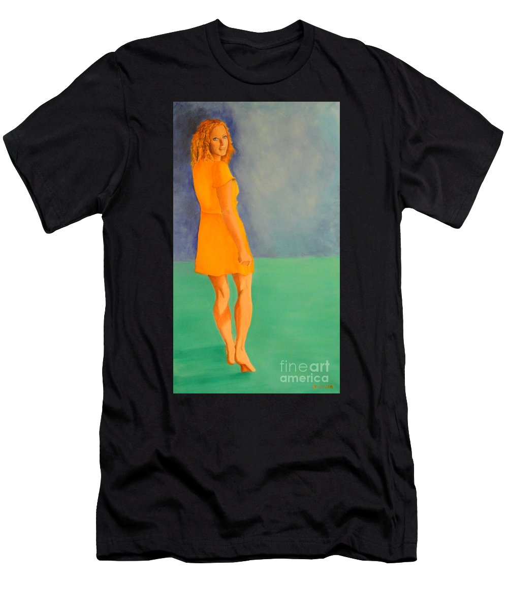 Yellow T-Shirt featuring the painting Spring by Dagmar Helbig