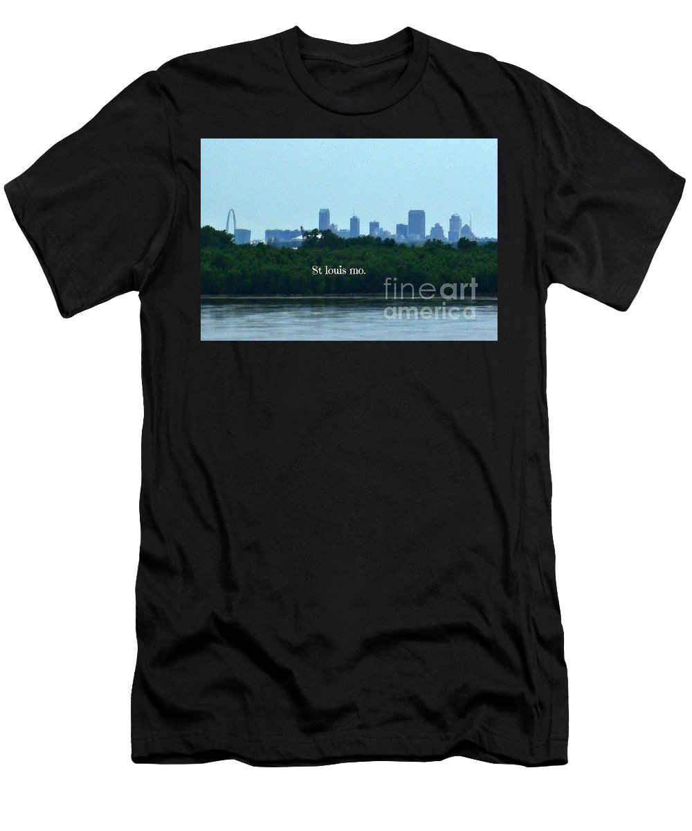 Chain Of Rocks Bridge Men's T-Shirt (Athletic Fit) featuring the photograph St Louis From Chain Of Rocks Bridge by Kelly Awad