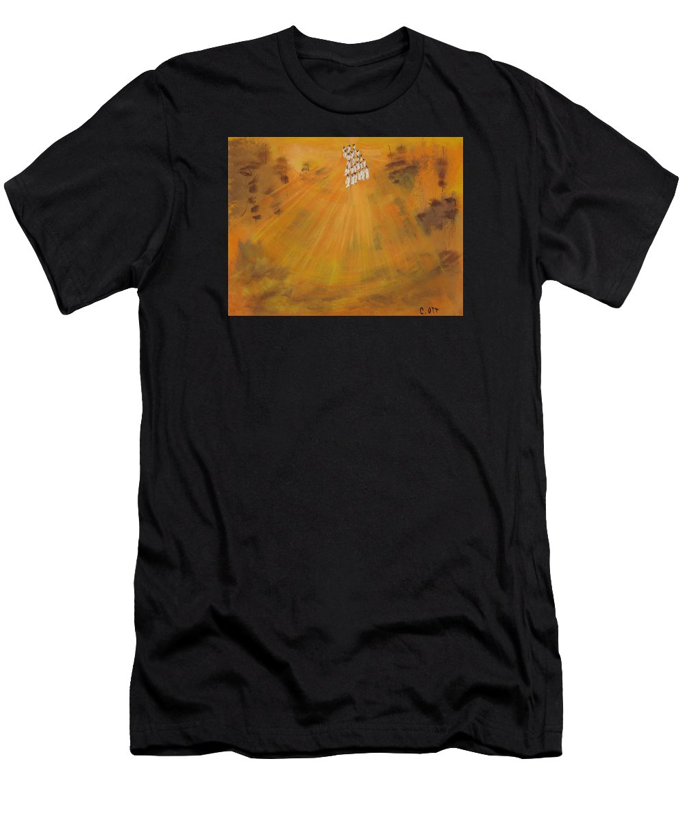 Sunshine Men's T-Shirt (Athletic Fit) featuring the painting Sun Choir by Calvin Ott