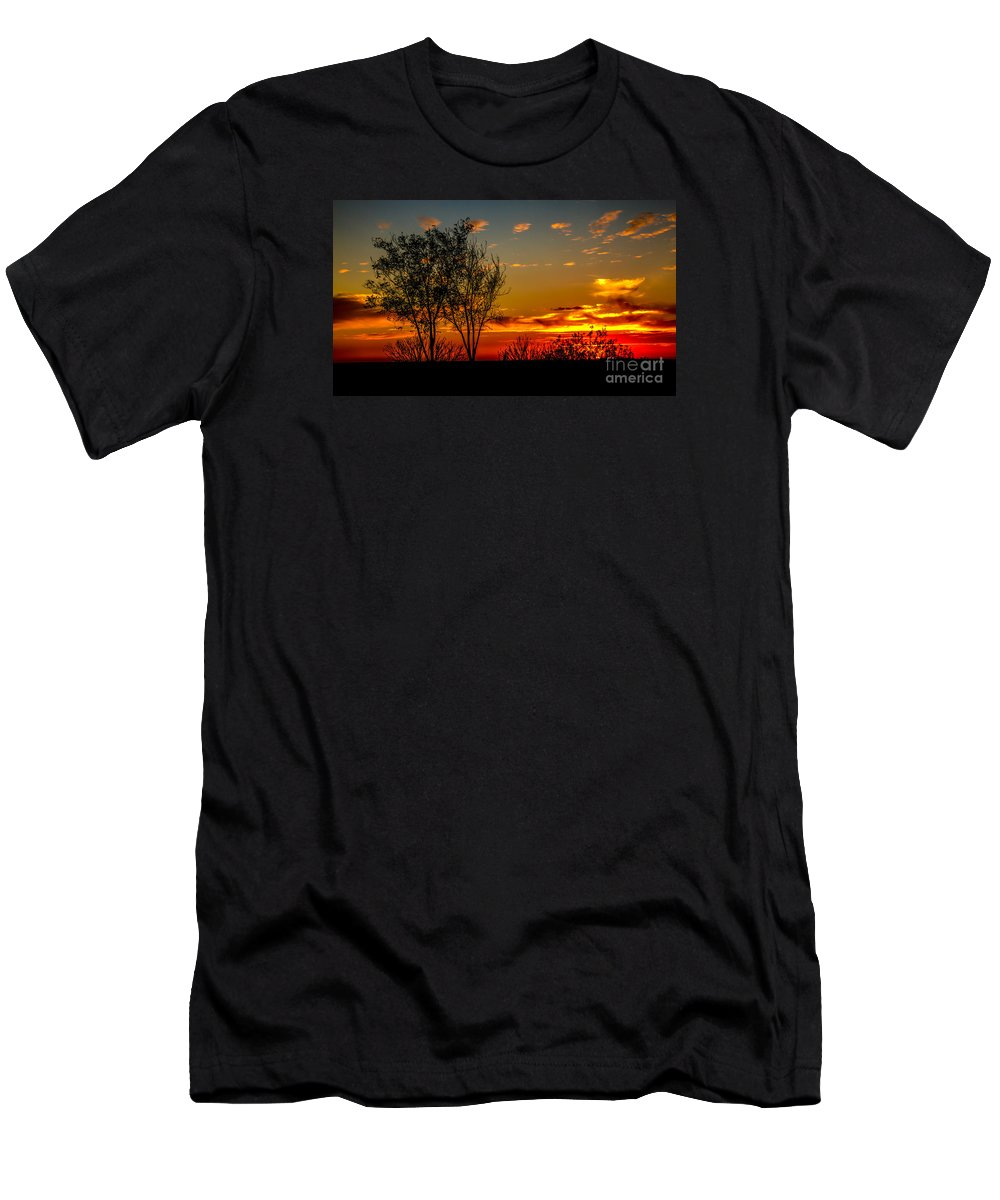 Sunrise Men's T-Shirt (Athletic Fit) featuring the photograph Sunset by Robert Bales
