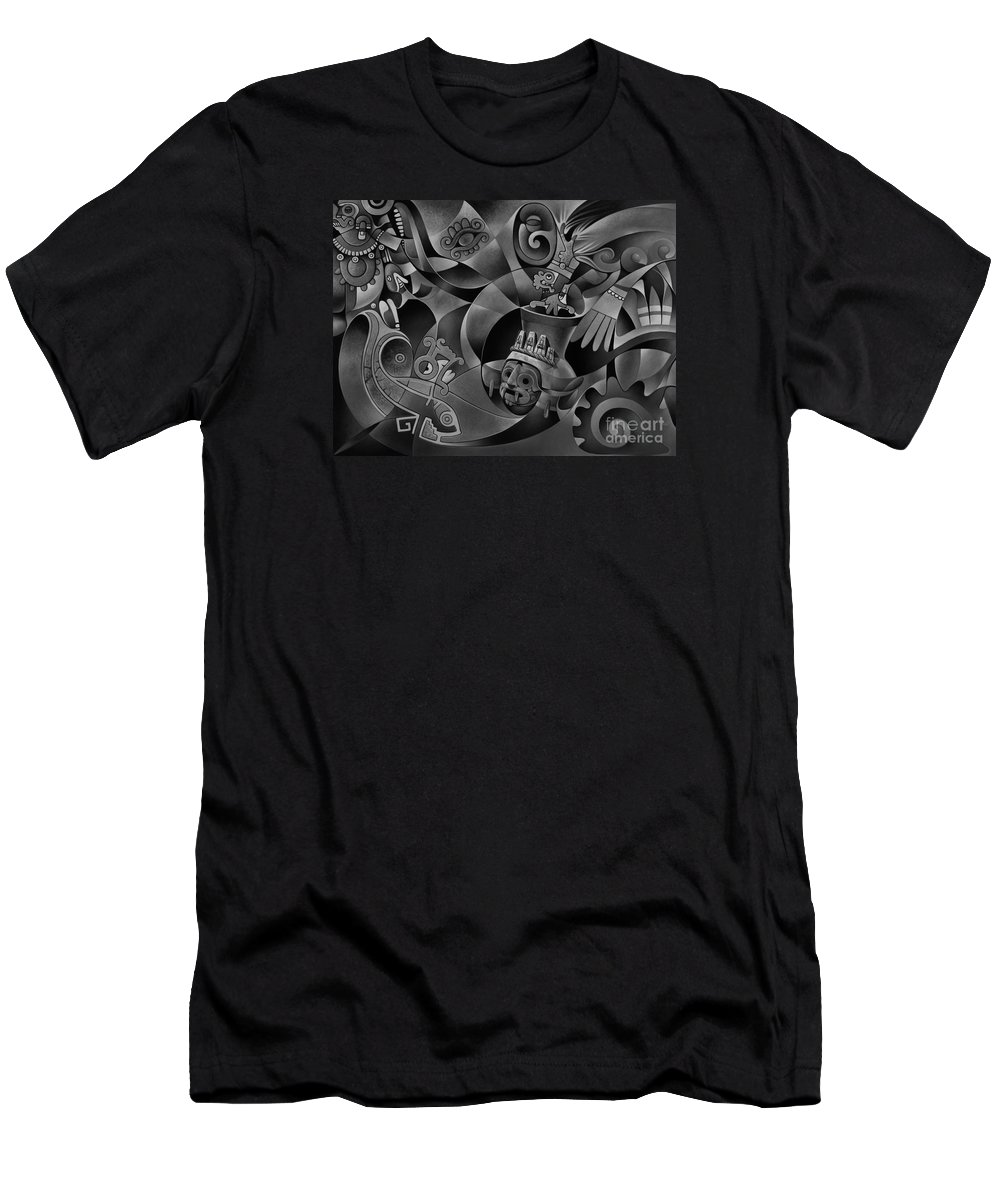 Aztec Men's T-Shirt (Athletic Fit) featuring the painting Tapestry Of Gods - Tlaloc by Ricardo Chavez-Mendez