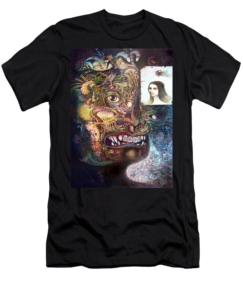 Mythology Men's T-Shirt (Athletic Fit) featuring the painting The Beast Of Babylon by Otto Rapp
