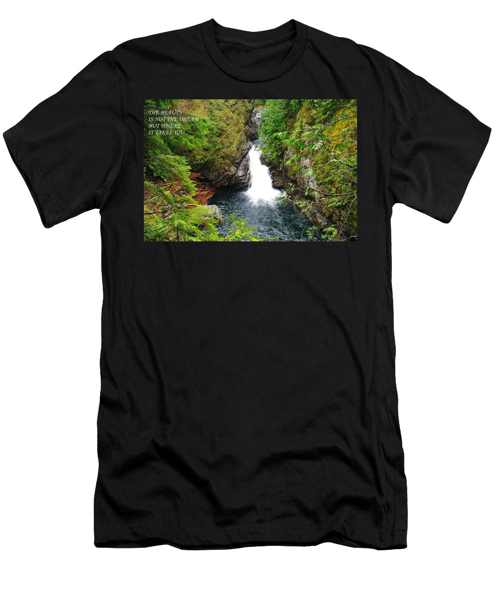 Waterfalls Men's T-Shirt (Athletic Fit) featuring the photograph The Beauty by Jeff Swan