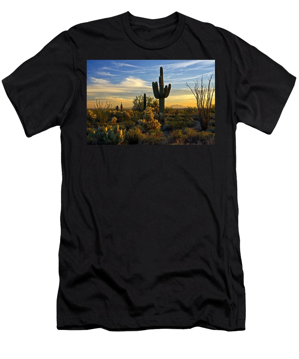 Sunset Men's T-Shirt (Athletic Fit) featuring the photograph The Golden Southwest by Saija Lehtonen