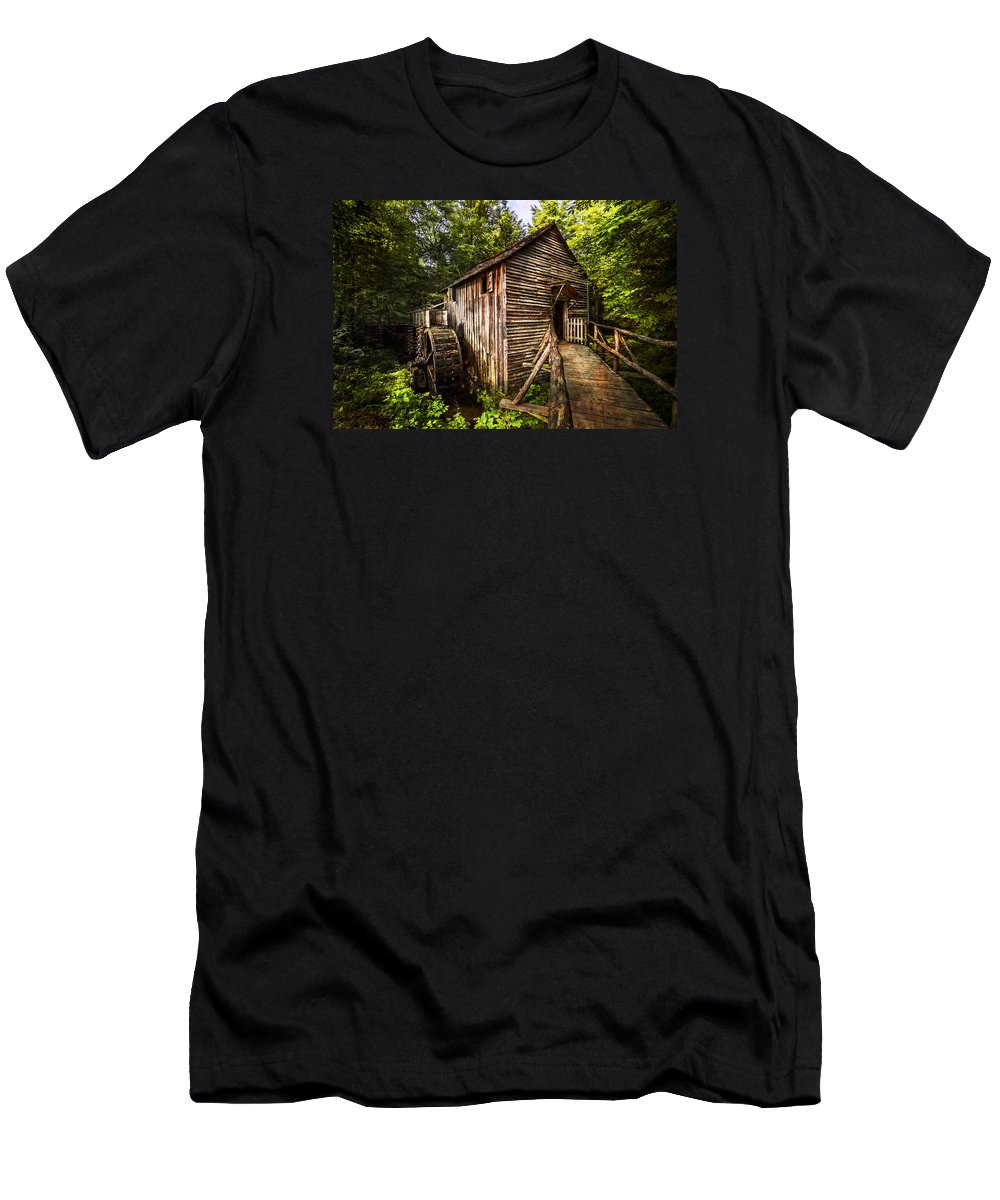 Appalachia Men's T-Shirt (Athletic Fit) featuring the photograph The Mill At Cades Cove by Debra and Dave Vanderlaan