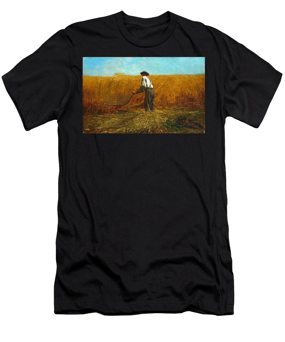Winslow Homer Men's T-Shirt (Athletic Fit) featuring the painting The Veteran In A New Field by Winslow Homer