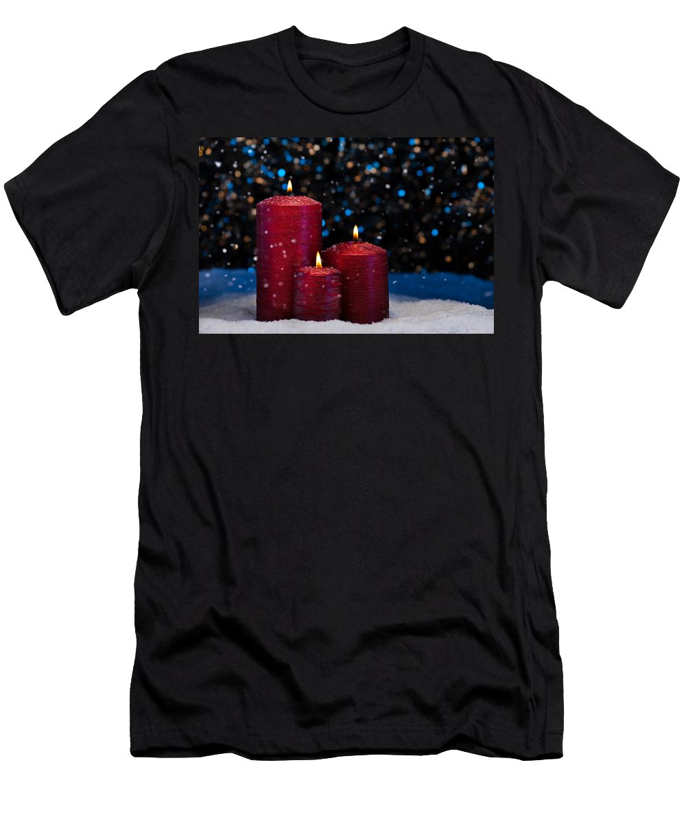 Decoration Men's T-Shirt (Athletic Fit) featuring the photograph Three Red Candles In Snow by U Schade
