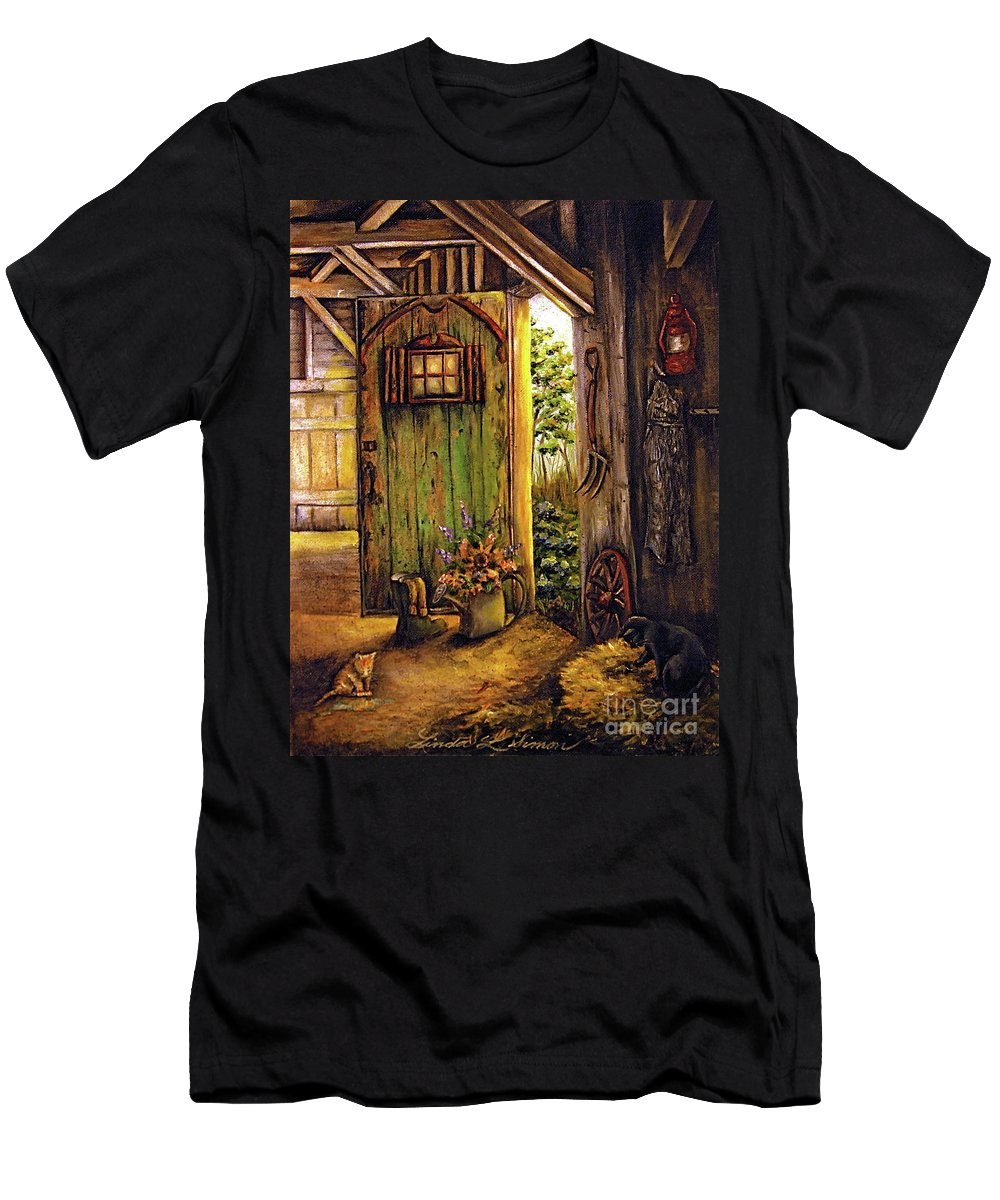 Linda Simon Men's T-Shirt (Athletic Fit) featuring the painting Timeless by Linda Simon