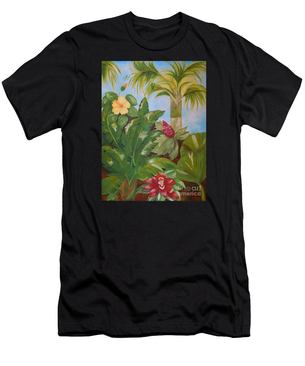 Tropical Men's T-Shirt (Athletic Fit) featuring the painting Tropical Garden by Graciela Castro