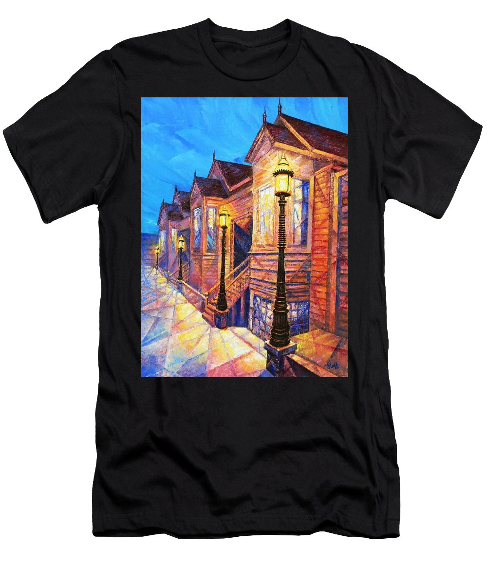 San Francisco Street Men's T-Shirt (Athletic Fit) featuring the painting Union Street by Raffi Jacobian