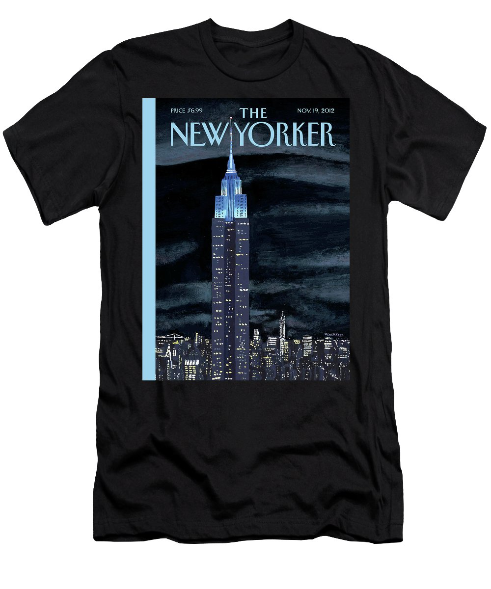 New York City Men's T-Shirt (Athletic Fit) featuring the painting New Yorker November 19th, 2012 by Mark Ulriksen