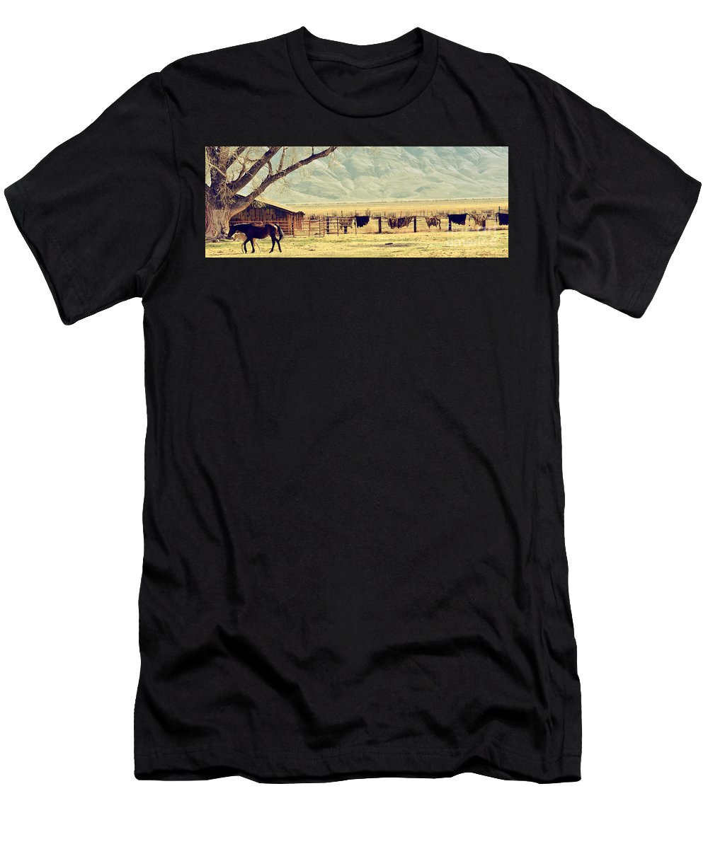 Farm Men's T-Shirt (Athletic Fit) featuring the photograph Walk With Me by Larry Young