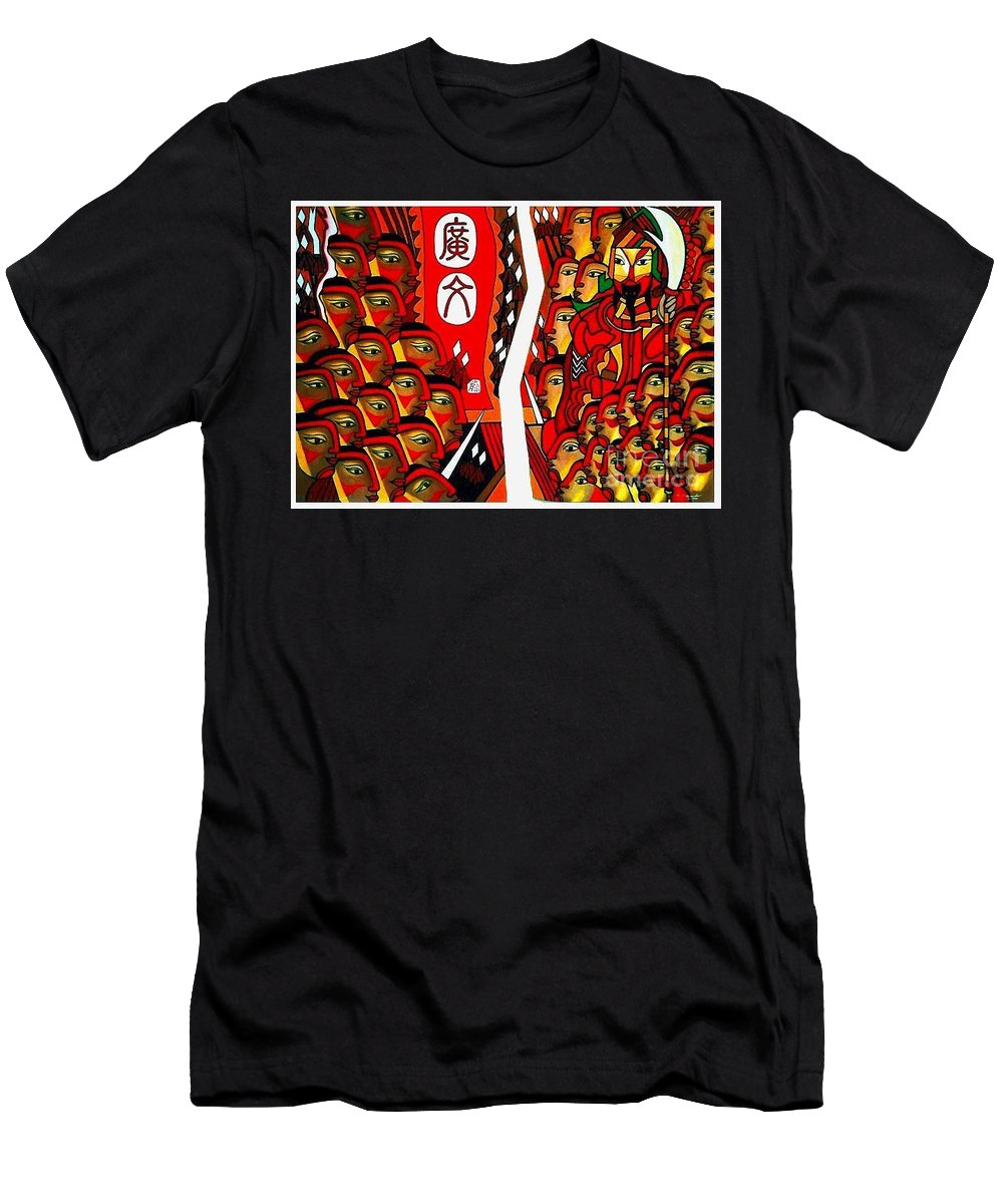 Figurative Paintings Men's T-Shirt (Athletic Fit) featuring the painting Warriors by Fei A