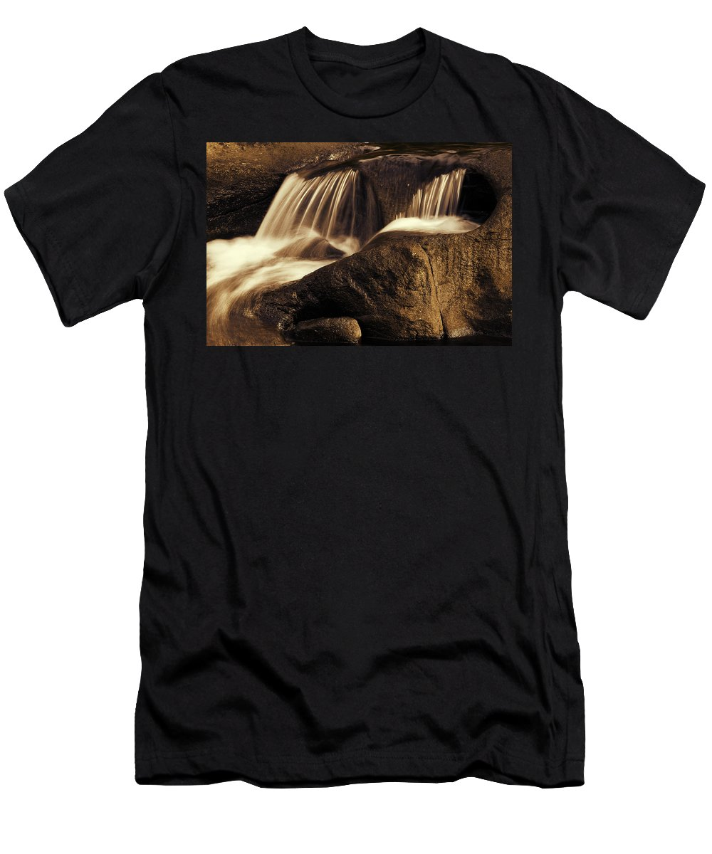 Rock Men's T-Shirt (Athletic Fit) featuring the photograph Water Flow by Les Cunliffe